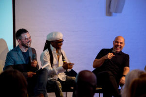 Dr Simon Barber shares a few laughs with special guests Nile Rodgers and Merck Mercuriadis at the Ivors Academy