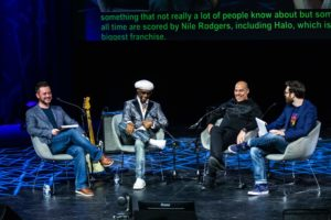 Sodajerker interview Nile Rodgers and Merck Mercuriadis. August 8th, 2019, in a live episode of their podcast at The Queen Elizabeth Hall, Southbank Centre as part of the Meltdown Festival