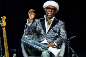 Nile Rodgers, August 8th, 2019, in a live episode of Sodajerker On Songwriting at The Queen Elizabeth Hall, Southbank Centre as part of the Meltdown Festival