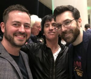 Simon and Brian of Sodajerker chat with Johnny Marr at his aftershow party at the Royal Festival Hall